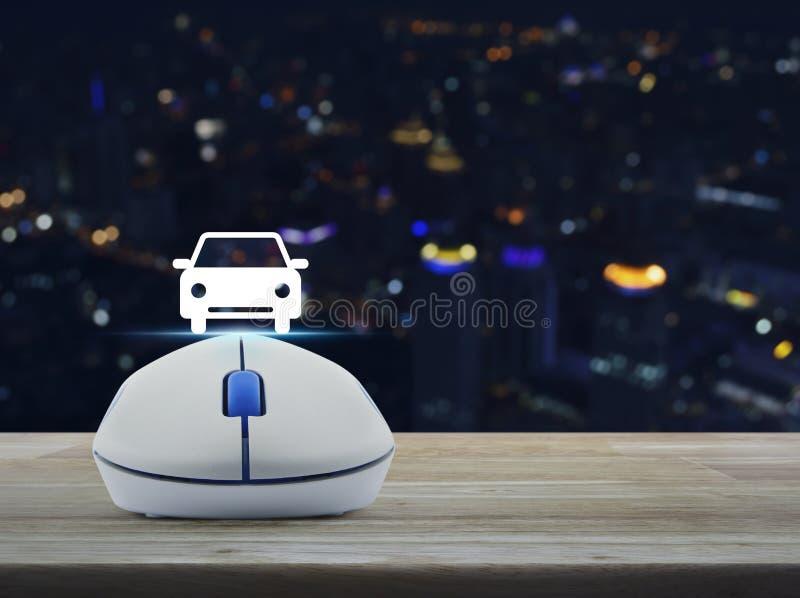 Беспроволочная мышь компьютера с значком вид спереди автомобиля плоским на таблице стоковые изображения
