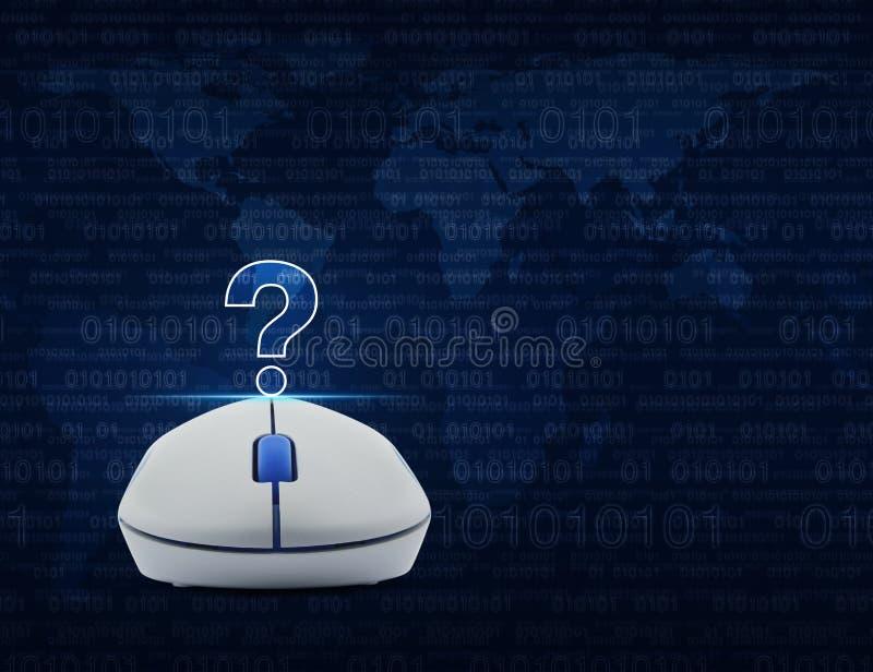 Беспроволочная мышь компьютера с значком знака вопросительного знака над comput стоковые фото