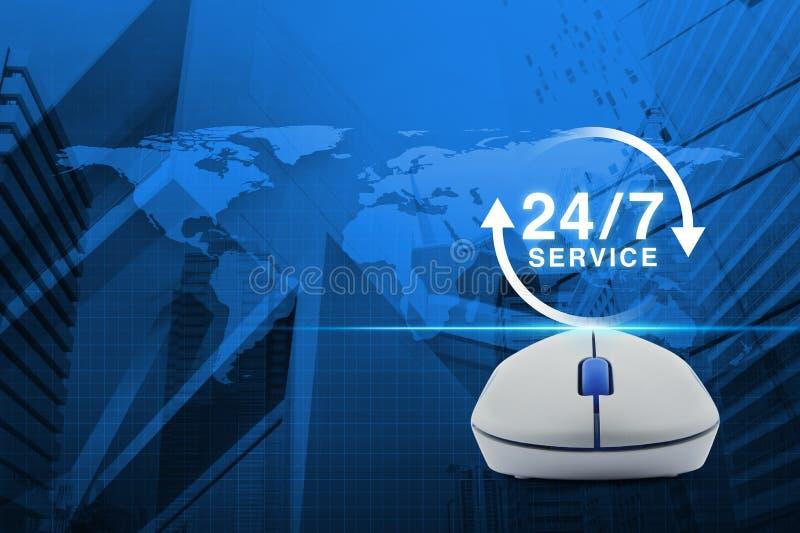 Беспроволочная мышь компьютера с кнопкой 24 часа обслуживает значок над m стоковые изображения