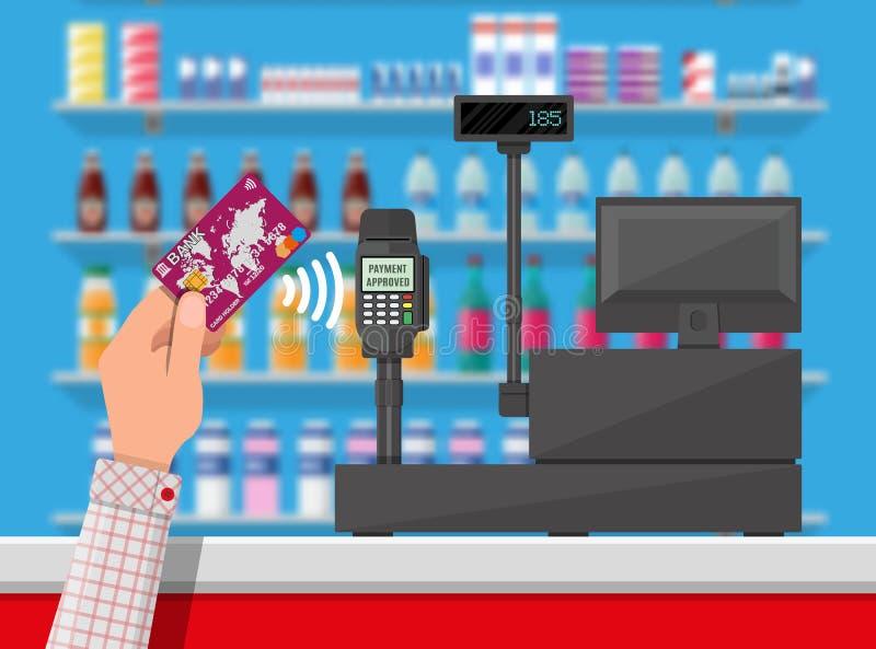 Беспроволочная оплата в супермаркете иллюстрация вектора