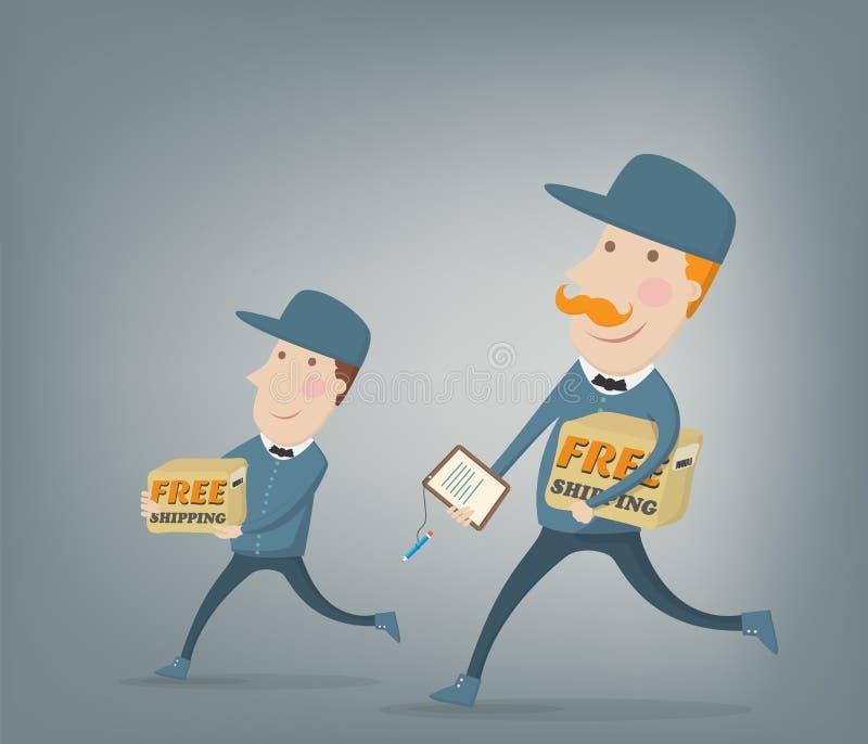 Бесплатная доставка. 2 курьера поставляя пакеты бесплатная иллюстрация