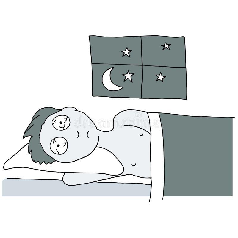 Бессонная ноча иллюстрация вектора