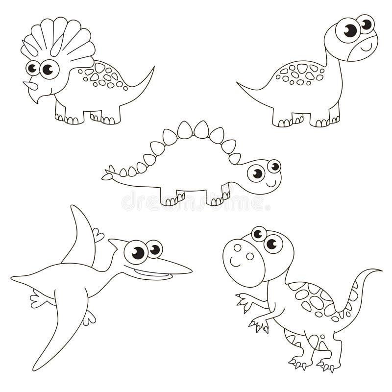 Бесцветный большущий комплект dino dinosaurus, большая страница, который нужно покрасить, простая игра образования для детей иллюстрация вектора