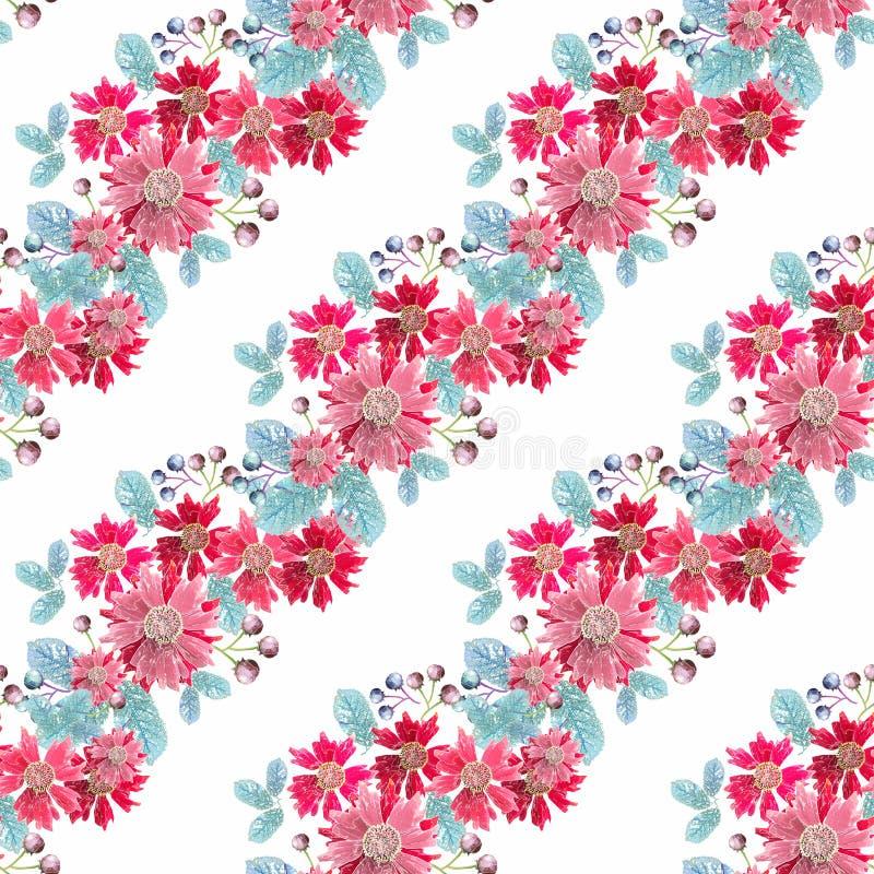Бесшумный цветочный шаблон Красные цветы, бирюзовые листья на белом бесплатная иллюстрация