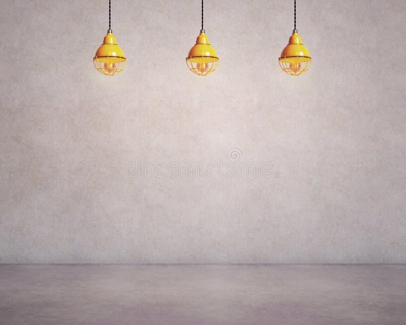 Бетонная стена и пол с 3 лампами иллюстрация штока