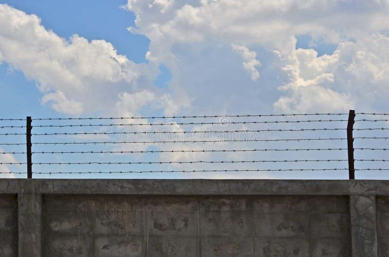 Бетонная стена с колючими проволоками стоковое фото