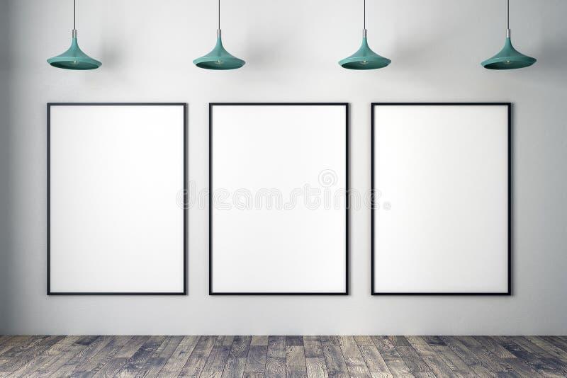 Бетонная стена с пустыми знаменами иллюстрация вектора