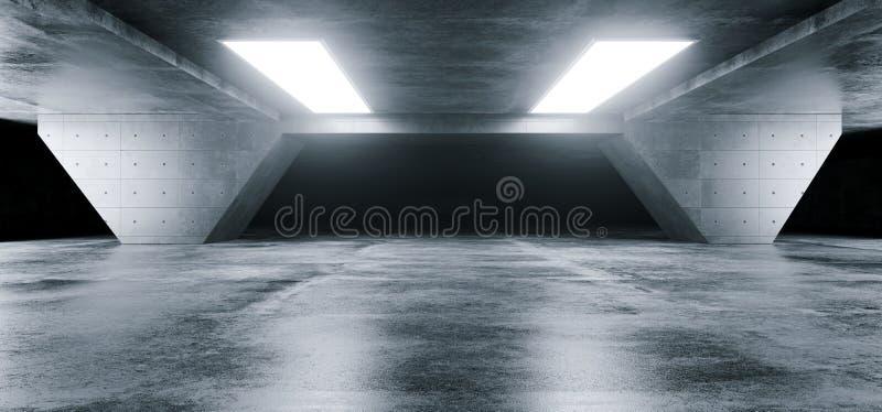 Бетон Undergroun отражений пустого элегантного современного Grunge темный иллюстрация вектора