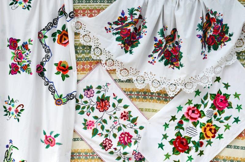 Беларусь, ремесла Полотенца, стежок сатинировки стоковая фотография rf