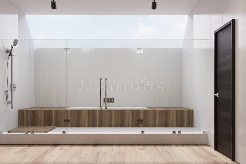 Белая ванная комната внутренняя, деревянный ушат, ливень иллюстрация штока