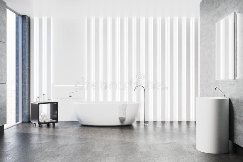 Белая ванная комната внутренняя, круглая раковина иллюстрация штока