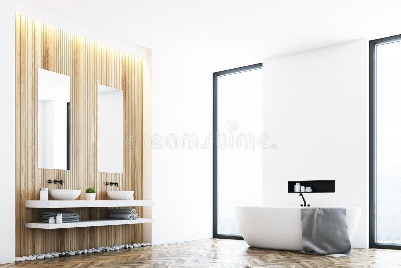Белая ванная комната и угол окна бесплатная иллюстрация