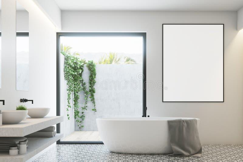 Белая ванная комната, круглый ушат, плакат иллюстрация вектора