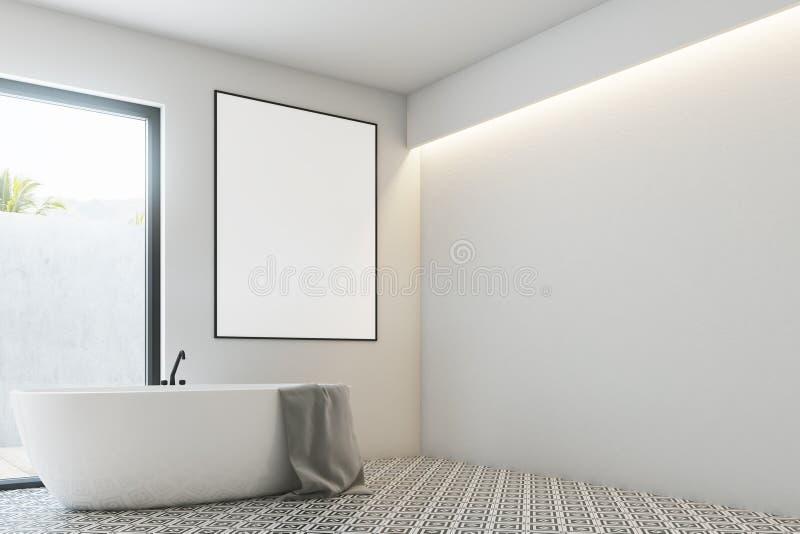 Белая ванная комната, круглый ушат, угол плаката бесплатная иллюстрация