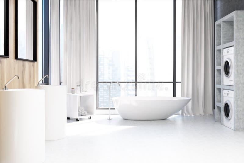 Белая ванная комната, стиральные машины закрывает вверх бесплатная иллюстрация
