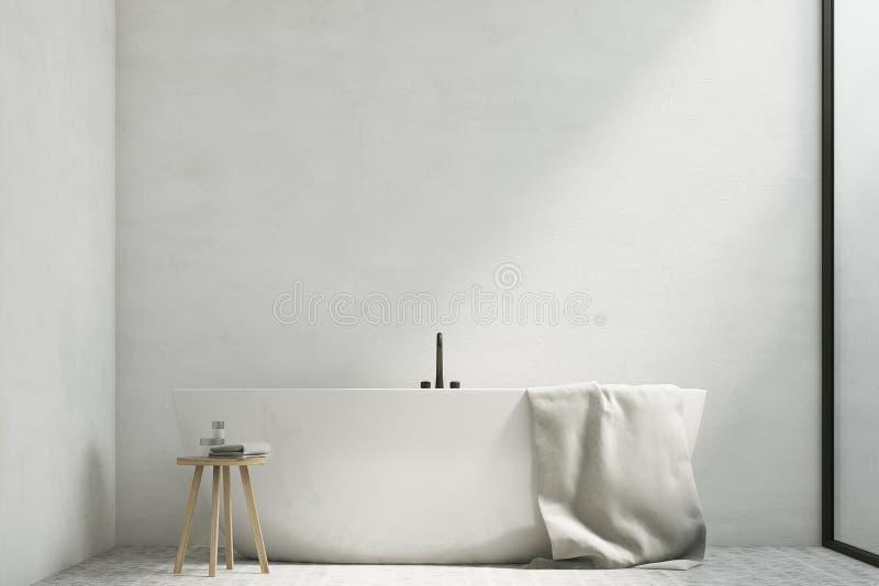 Белая ванная комната с ушатом, конец вверх иллюстрация штока