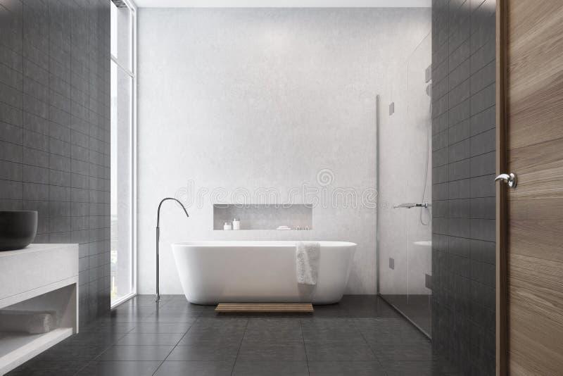 Белая ванная комната, черные плитки, раковина бесплатная иллюстрация