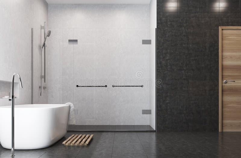 Белая ванная комната, черные плитки, сторона ливня бесплатная иллюстрация
