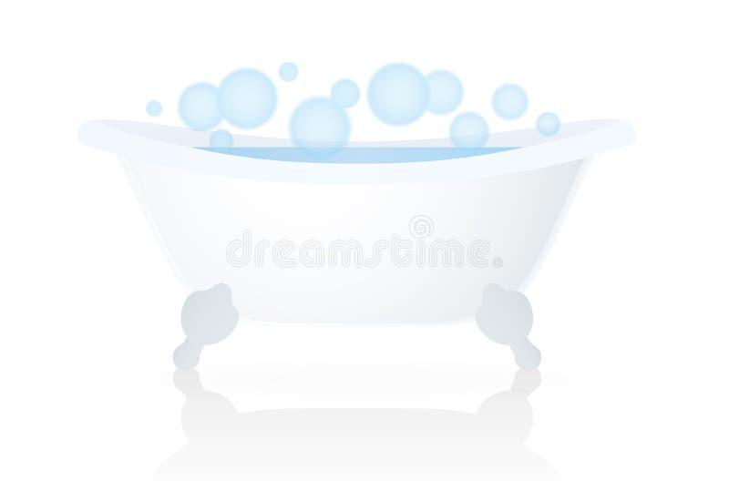 Белая ванна (ушат, ванна) с пузырями иллюстрация штока