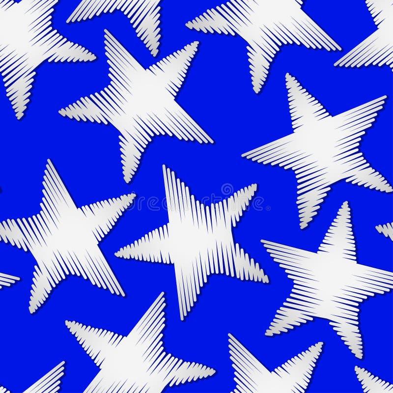 Белая вышивка звезды шить безшовную картину иллюстрация штока