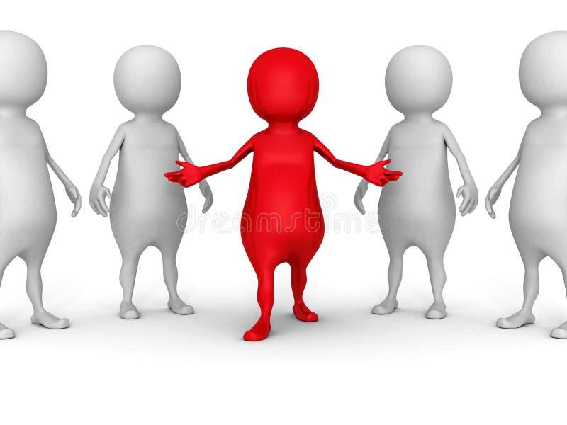 Белая группа людей 3d с красным человеком руководителя стоковое изображение