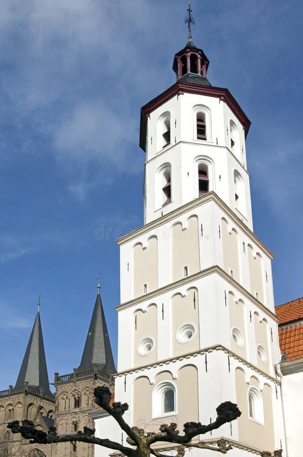 Белая евангелическая церковь, Xanten, Германия стоковые фотографии rf