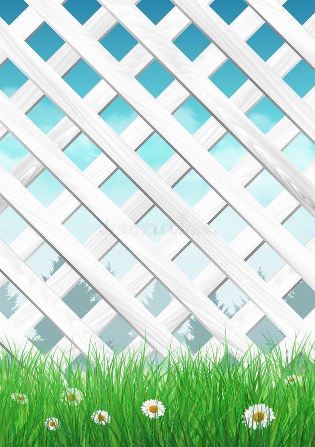 Белая загородка сада с травой и цветками, предпосылкой весны иллюстрация штока