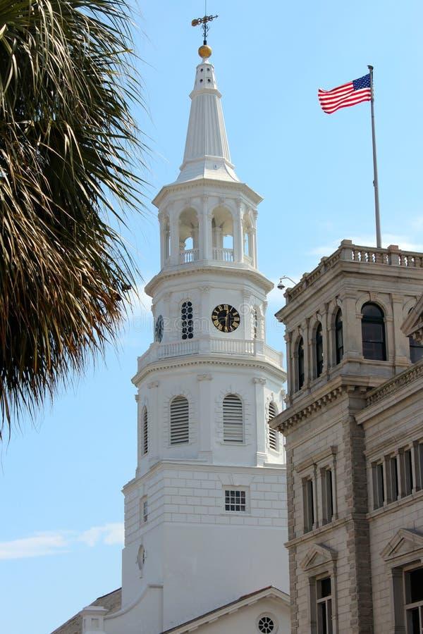Белая историческая церковь стоковое фото rf