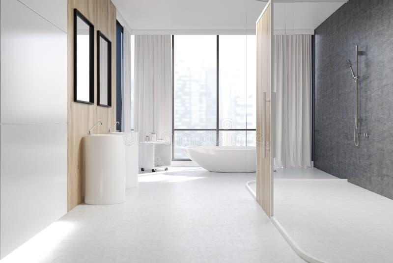 Белая и деревянная ванная комната, ливень иллюстрация штока