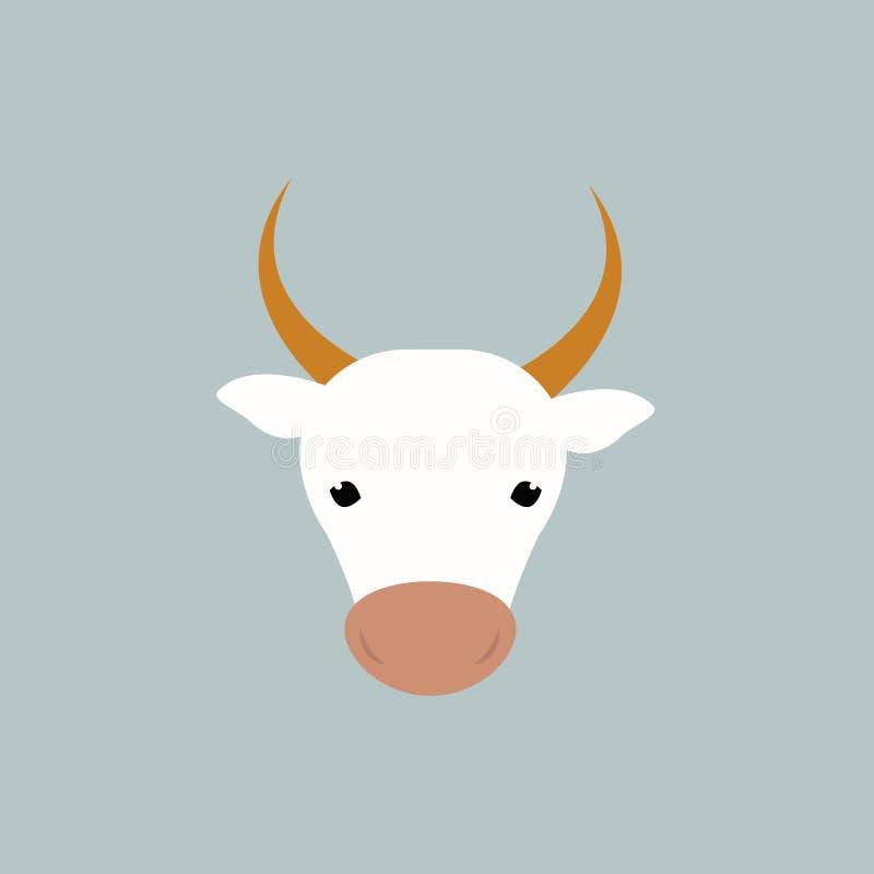 Белая иллюстрация вектора головы коровы бесплатная иллюстрация