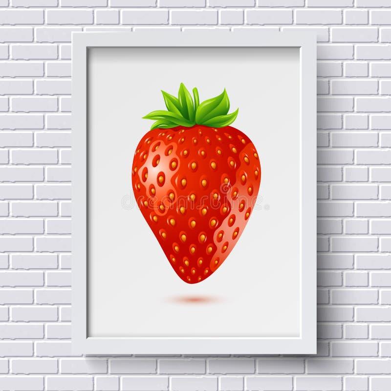 Белая картина кирпичной стены с картинной рамкой и клубника в ей иллюстрация штока