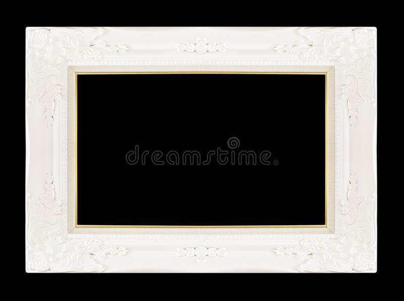 Белая картинная рамка изолированная на черной предпосылке стоковое изображение rf