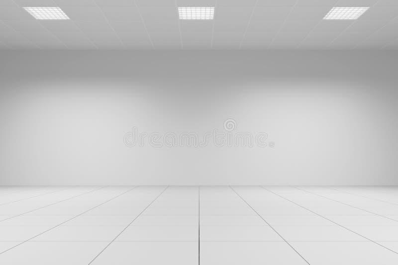 Белая комната офиса с крыть черепицей черепицей иллюстрация вектора