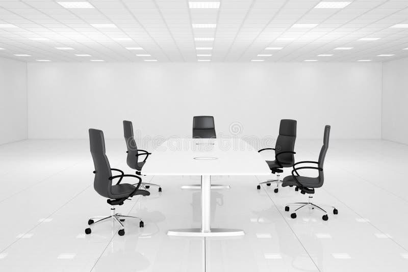 Белая комната офиса с таблицей иллюстрация вектора