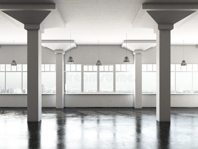 Белая комната просторной квартиры с столбцами бесплатная иллюстрация