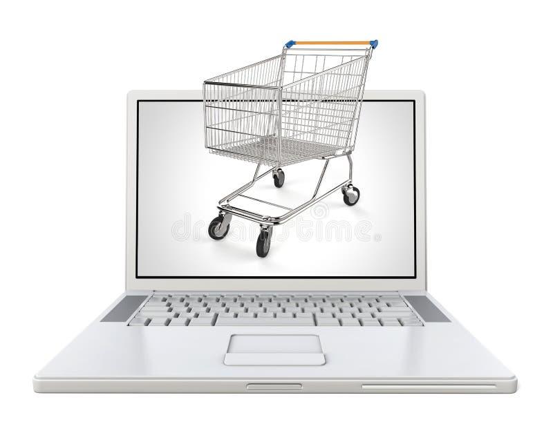 белая компьтер-книжка 3d с магазинной тележкаой - концепцией eshop стоковое фото