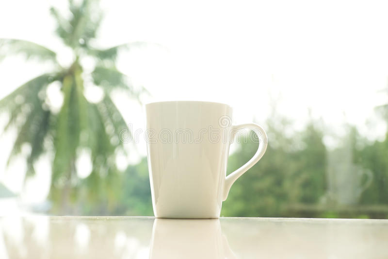 Белая кофейная чашка в утре стоковые фото
