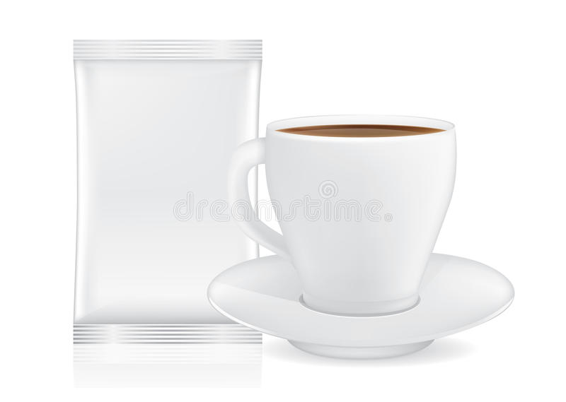 Белая кофейная чашка и поддонник около саше иллюстрация штока