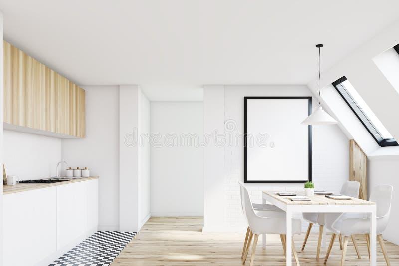 Белая кухня чердака, передняя бесплатная иллюстрация