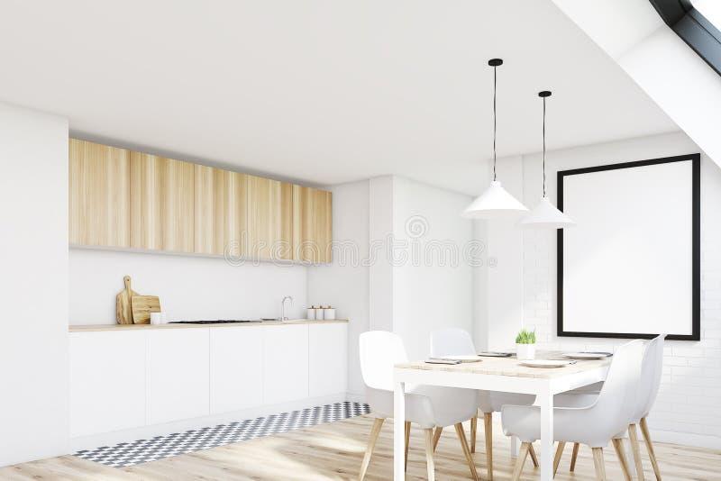 Белая кухня чердака, сторона иллюстрация вектора