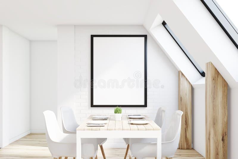 Белая кухня чердака иллюстрация вектора
