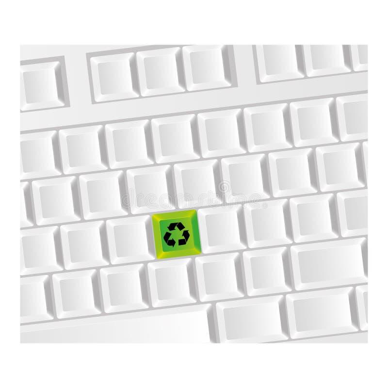 белая клавиатура компьютера с рециркулирует значок символа бесплатная иллюстрация