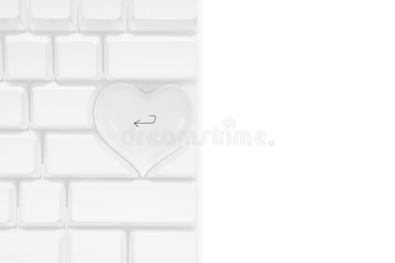 Белая клавиатура компьютера Эпл с клавишей <-- сердца влюбленности бесплатная иллюстрация