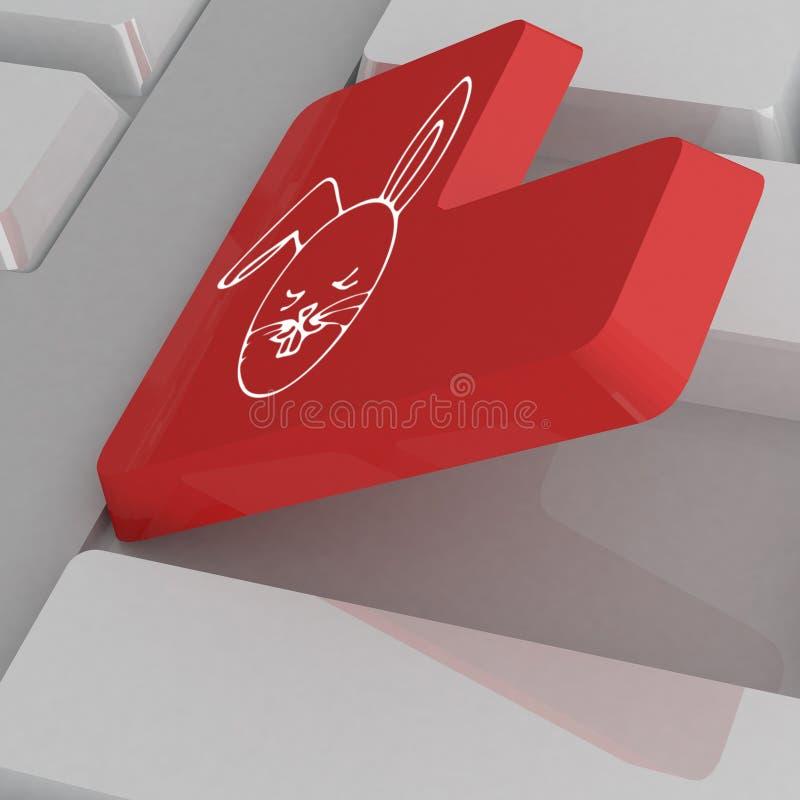 Белая клавиатура с красным ключом иллюстрация вектора