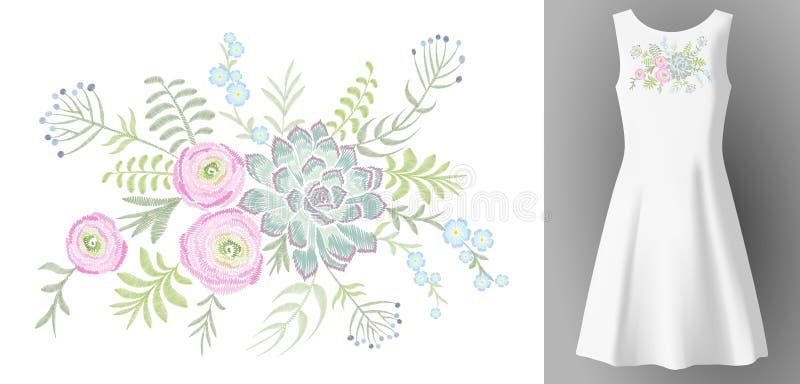 Белая насмешка платья 3d женщины реалистическая вверх по флористическому украшению моды вышивки Neckline заплаты евкалипта лютика иллюстрация штока