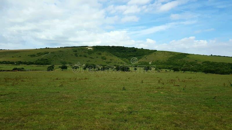Белая лошадь деревниLitlingtonв inвосточномСассекс долиныCuckmeretheÂ, Англии,  стоковое фото