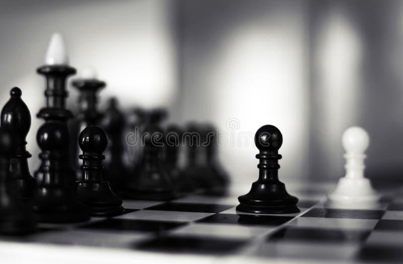 Белая победа шахмат снова чернит стоковое изображение