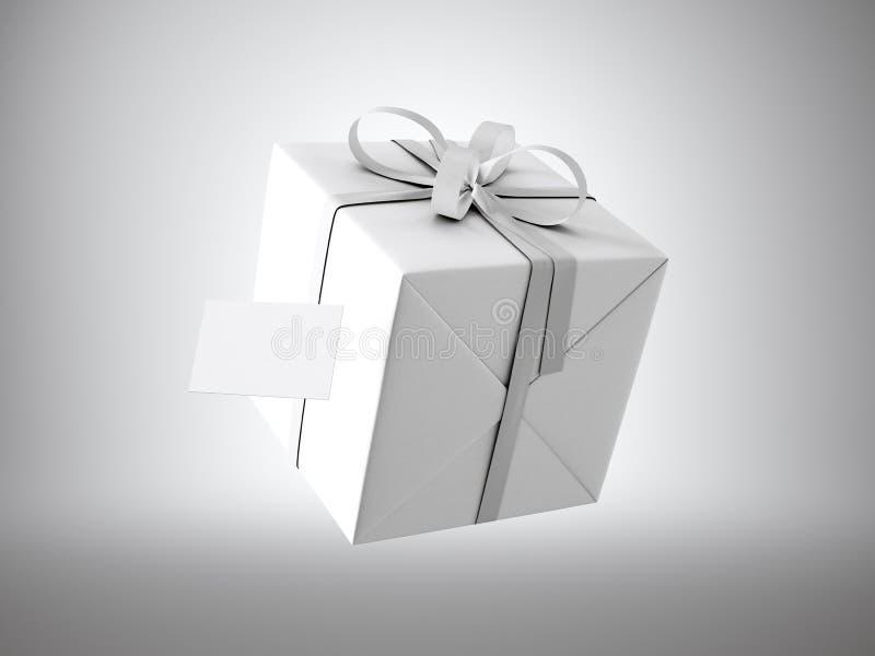 Белая подарочная коробка при белый смычок ленты и пустая визитная карточка, изолированные на серых, мягких тенях 3d представляют иллюстрация штока