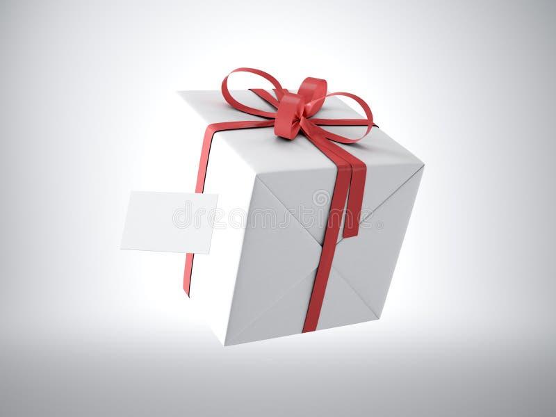 Белая подарочная коробка при красный смычок ленты и пустая визитная карточка, изолированные на белых, мягких тенях 3d представляю иллюстрация вектора