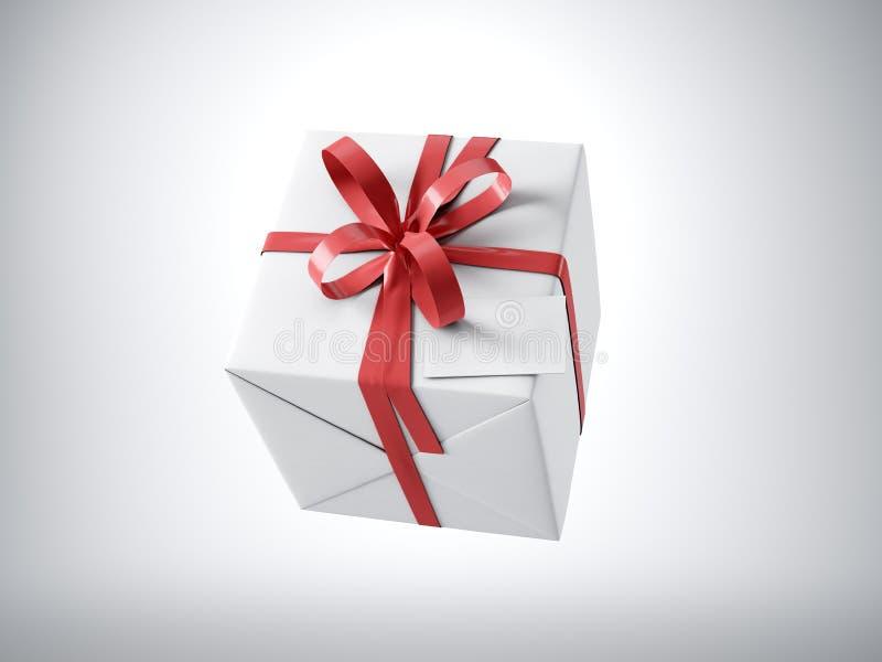 Белая подарочная коробка при красный смычок ленты и пустая визитная карточка, изолированные на белизне, горизонтальной 3d предста иллюстрация штока